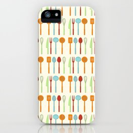 Kitchen Utensil Colored Silhouettes on Cream iPhone Case