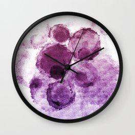 Purple Watercolor Spots Wall Clock