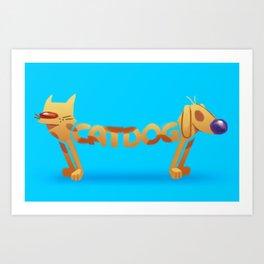 Cat & Dog Art Print