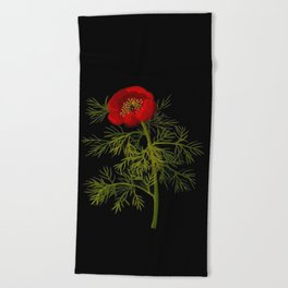 Paeonia Tenuifolia Mary Delany Vintage British Floral Flower Paper Collage Black Background Beach Towel