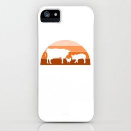 "A Nice Grilling Tee For Griller ""A Cow A Pig A Chicken Walks Into A Bar B Q The End"" T-shirt Design iPhone Case"