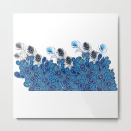 Paisley Peacocks Feather Invasion Metal Print