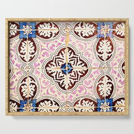 Portuguese Tile Pattern in Pink and Brown Serving Tray