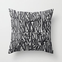 A urban city photograph of wall and a graffiti in Arab style Throw Pillow