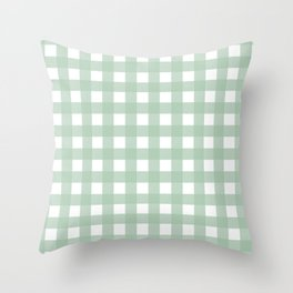 Buffalo Checks in Sage Green and White Throw Pillow