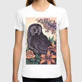 Great Grey Owl At Sunset T-shirt