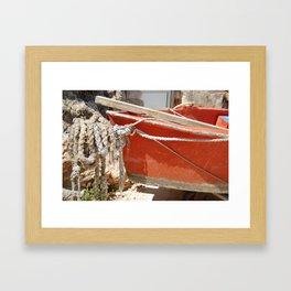 Little red boat Framed Art Print