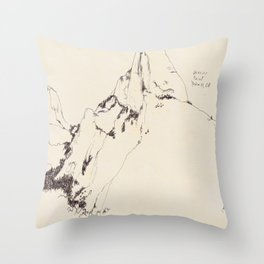 Yosemite Glacier Point Drawing Throw Pillow