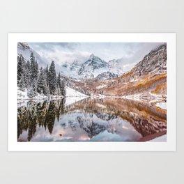 Mountain Landscape Reflections of Maroon Bells Colorado Art Print