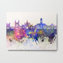 Cambridge skyline in watercolor background Metal Print