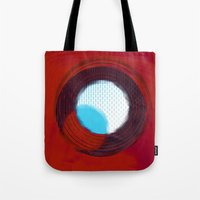 aperture Tote Bags featuring aperture 2 by Ricochet  Elm  Studio