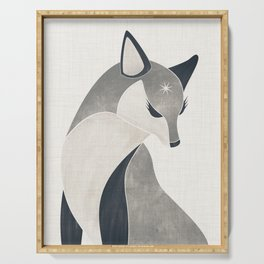 Black and White Fox Serving Tray