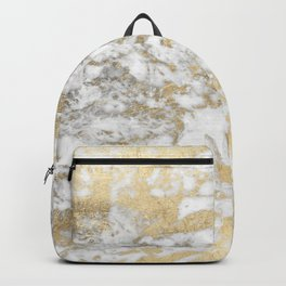 Modern chic faux gold white elegant marble Backpack