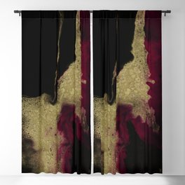 Black Honey - resin abstract painting, black and gold abstract art Blackout Curtain