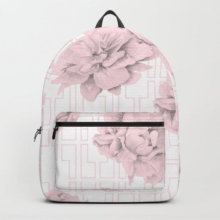 Rose Garden Pink Flamingo Mid-Century Lattice Backpack