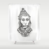 hindu Shower Curtains featuring Hindu Deity (Hanuman) by The Artful Yogini