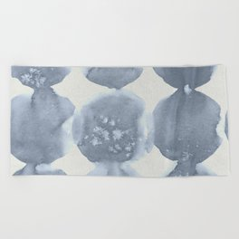 Shibori Wabi Sabi Indigo Blue on Lunar Gray Beach Towel