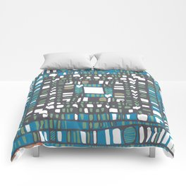 Squared layers in orange and blue Comforters