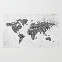 Mandalas on Rustic White Concrete World Map Art Rug