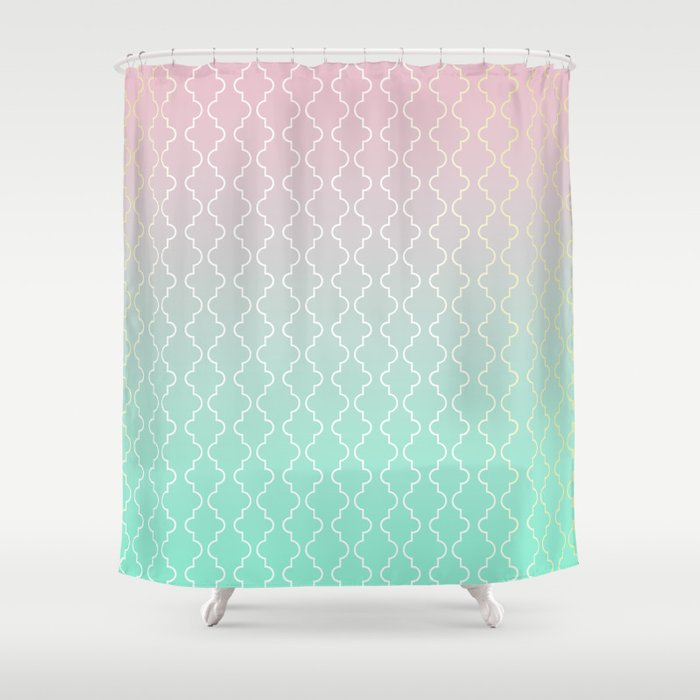 pink and gold shower curtain. Moroccan pattern with mint  pink and gold Shower Curtain by