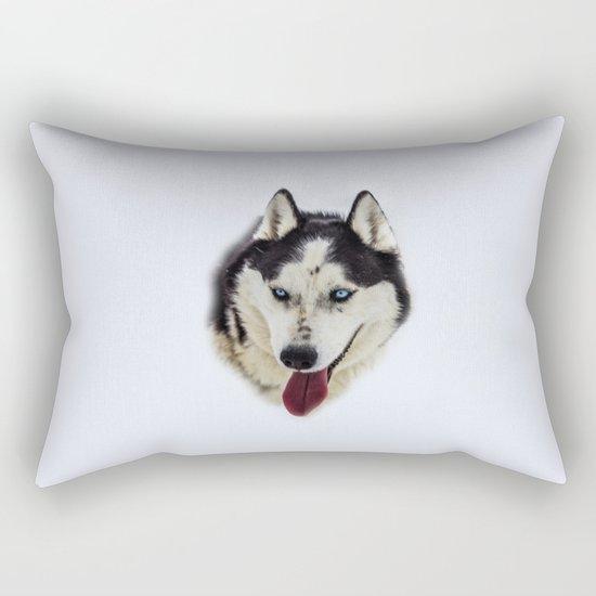 Siberian Husky with blue eyes Rectangular Pillow