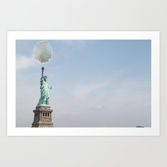 Lady liberty balloons Art Print
