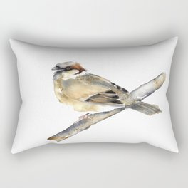 Watercolor Sparrow Rectangular Pillow