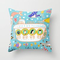 submarine Throw Pillows featuring submarine by AW illustrations