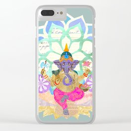 Lord Ganesh in Lotus throne Clear iPhone Case