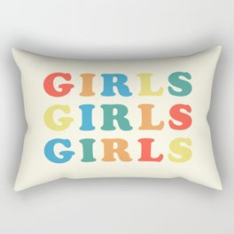 Girls Girls Girls Feminist Quote Rectangular Pillow