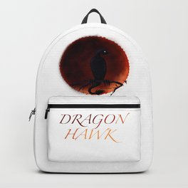 Dragon Hawk on Blood Moon White Background Backpack