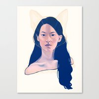 kitsune Canvas Prints featuring Kitsune by days & hours