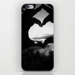 Heart Hands Black & White iPhone Skin