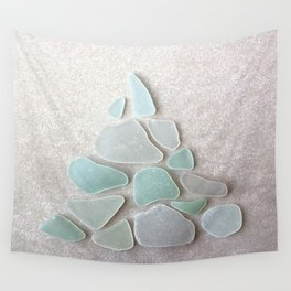 Sea Foam Sea Glass Christmas Tree #Christmas #seaglass Wall Tapestry