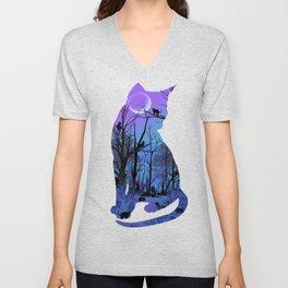 CAT MOON Unisex V-Neck