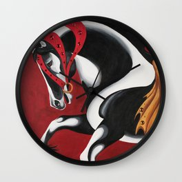 Red Carousel Horse Wall Clock