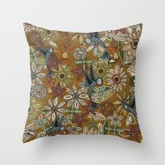 nectar bird garden gold Throw Pillow