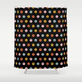 Smiley - Black Multi Shower Curtain
