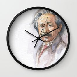 Albert Einstein Watercolor Portrait Wall Clock