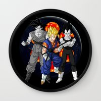 dbz Wall Clocks featuring DBZ - Mighty Fusion by Mr. Stonebanks