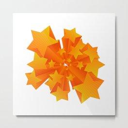3D orange stars artwork Metal Print