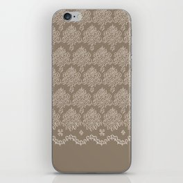 Coffee Color Damask Chenille with Lacy Edge iPhone Skin