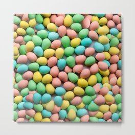 Candy Egg Milk Chocolate Easter Pattern by Patterns Soup Metal Print