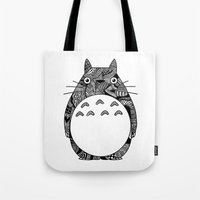 ghibli Tote Bags featuring Ghibli Zentangle by Riaora Creations