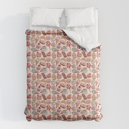 Hand drawn confectionery croissant Cupcake candy ice cream cake donut and coffee Comforters