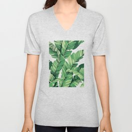 Tropical banana leaves V Unisex V-Neck