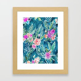 NAVY PARADISE FLORAL Tropical Hibiscus Palm Pattern Framed Art Print