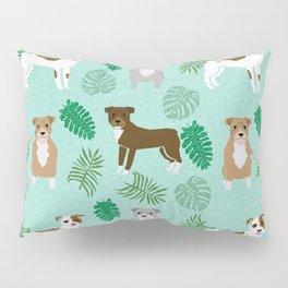 Pitbull summer monstera tropical plants pure breed dog gifts Pillow Sham