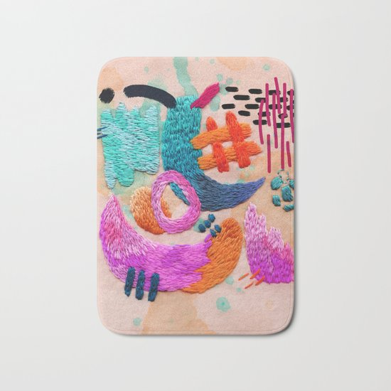 abstract embroidery Bath Mat
