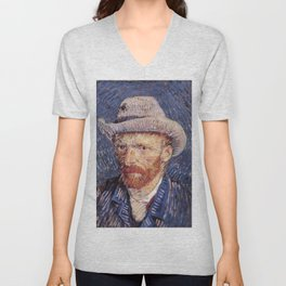 Self-Portrait with Grey Felt Hat by Vincent van Gogh Unisex V-Neck